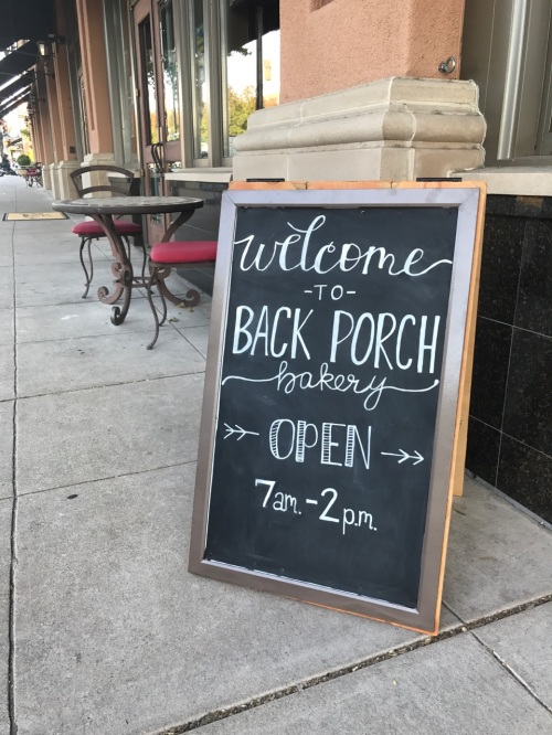 "DIY ""A"" Frame, Portable Chalkboard Sign in front of Back Porch Bakery in Atascadero, California."